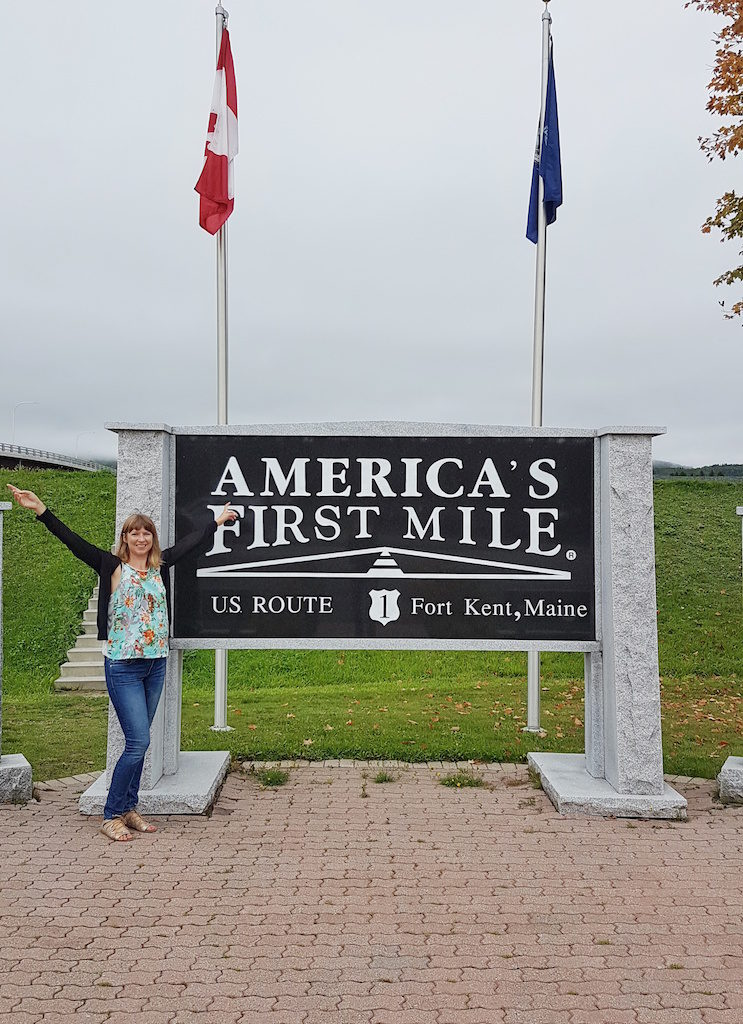 Ella Buchan at the start of US1 kicking off her epic road trip in Fort Kent, Maine