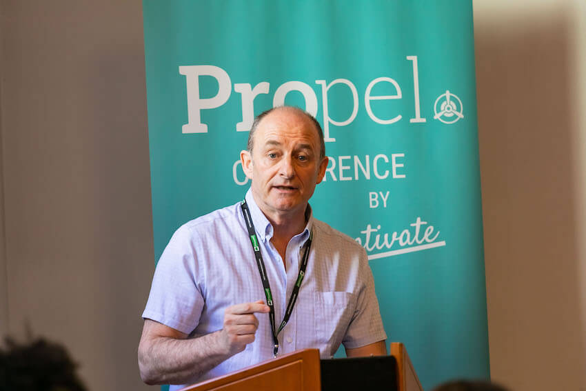 Terry Lee speaking at the Propel Conference, in Graz